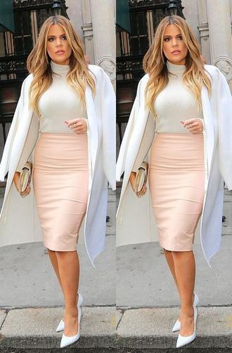 skirt coat pumps khloe kardashian
