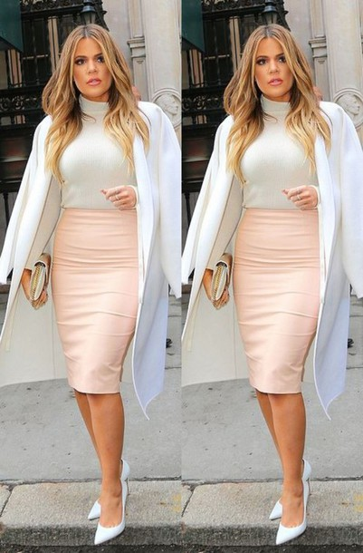 skirt coat pumps khloe kardashian