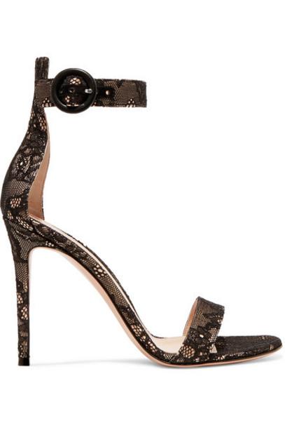 Gianvito Rossi - Portofino 105 Lace Sandals - Black