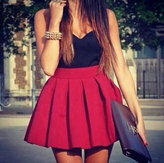 skirt ref skirt red bag jewels red mini skirt dress red dress black cute crop tops shirt scarf pleated skirt red skater skirt tank top red skirt skater skirt bustier top