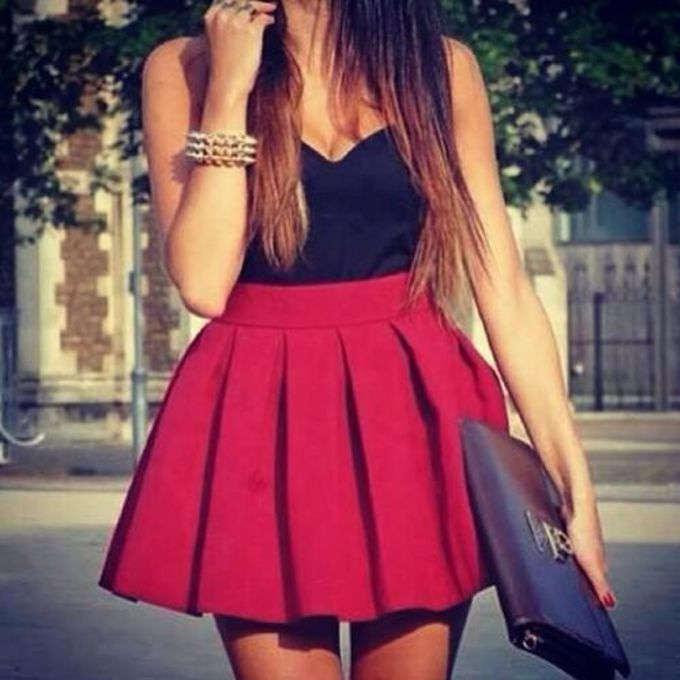 jewels red bag skirt ref skirt cute black dress red dress crop tops shirt scarf pleated skirt red skater skirt tank top red skirt skater skirt bustier scarf red