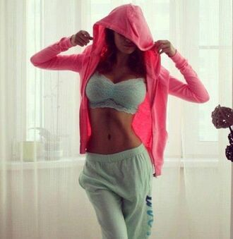 jacket pink pretty besutiful beautiful girly zip tank top sports bra pants lazy day underwear