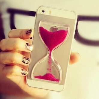 jewels iphone case iphone 5 case red carpet dress phone cover hourglass pink iphone 5s sand timer iphone cover