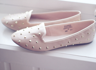 shoes pink pink shoes studs studded pastel baby pink ballet flats red or gold