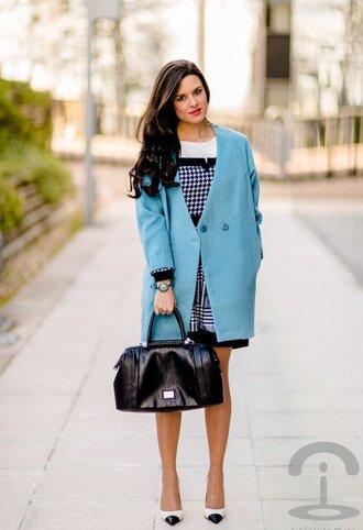coat checkered dress blue coat black bag white stilettos blogger