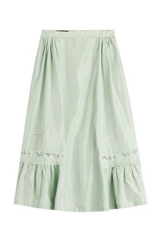 skirt midi skirt midi silk green