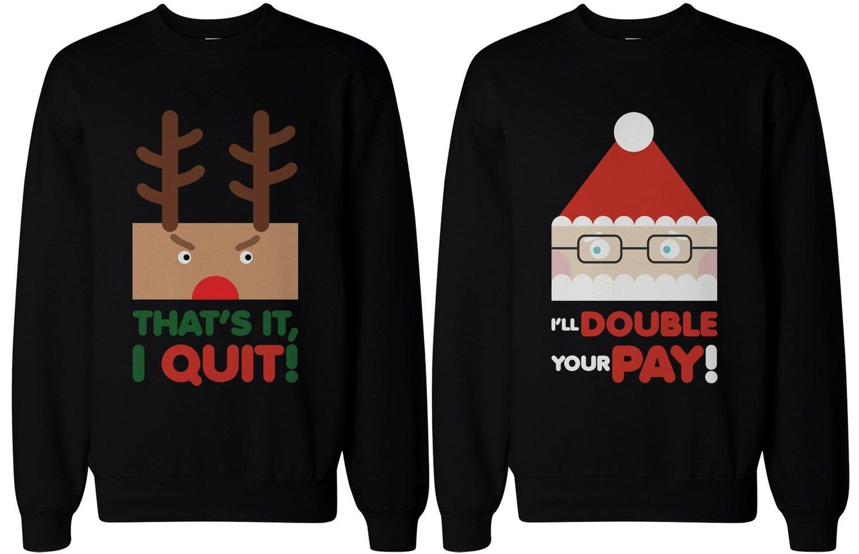 com: Couple Sweatshirts - Rudolph and Santa - Funny Graphic ...