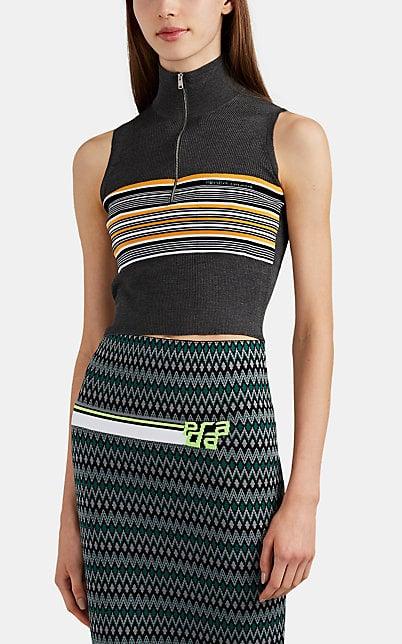 093648b1 Prada Striped Rib-Knit Silk-Wool Crop Top | Barneys New York