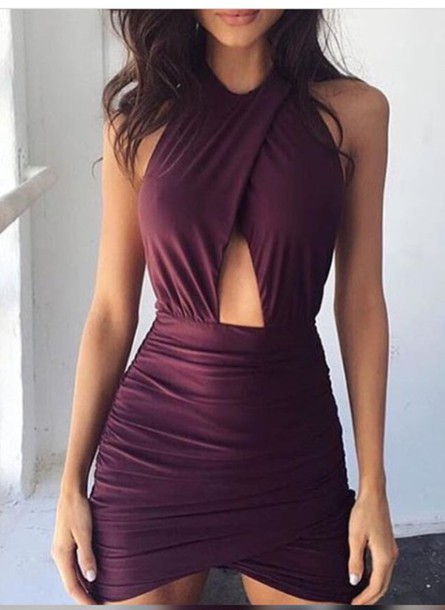 dress black cherry blouse sophia macova short dress cut-out plum burgundy dress purple sophia miacova cute dress romper homecoming dress purple dress