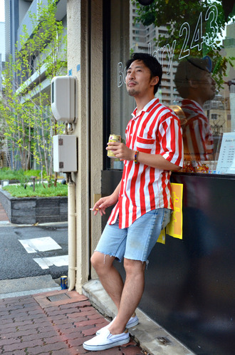 shirt stripes red and white red and white shirt button up japanese