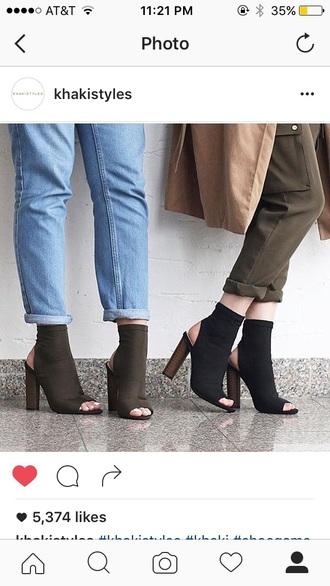 shoes heels black khaki ankle boots peep toe boots