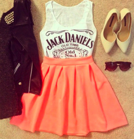 nude shoes jack daniels shirt coral skirt leather jacket with studs