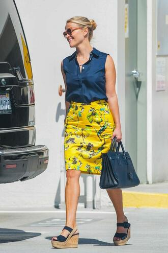 skirt reese witherspoon wedges summer outfits blouse shirt shoes yellow yellow skirt