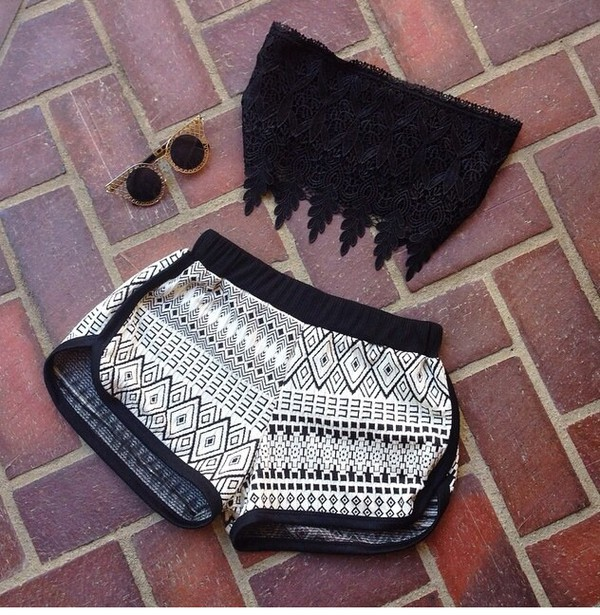 tribal printed shorts crop tops halter top top sunglasses shorts