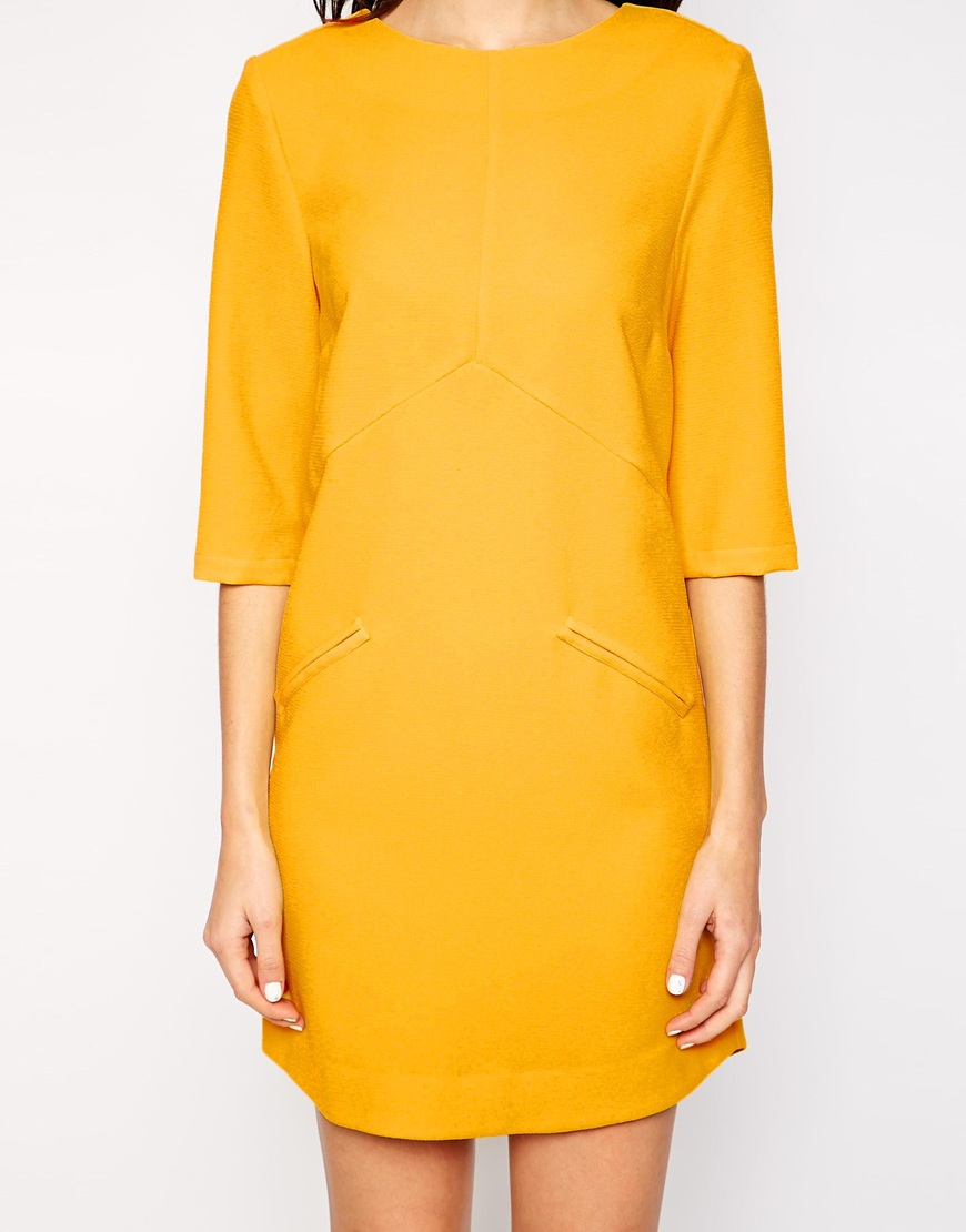 Warehouse Panelled Shift Dress at asos.com