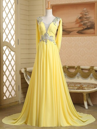 dress yellow prom gown formal homecoming dress beautiful evening dress elegant dressofgirl