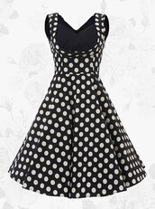 dress,black vintage dress,polka dots,a-line