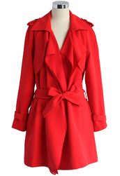 coat,inspirational waterfall trench coat in ruby,chicwish,trench coat,chicwish.com,cropped trench coat
