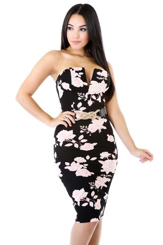 dress black floral pink rose summer