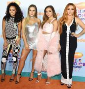 dress,metallic,silver,silver dress,little mix,maxi dress,pants,skirt,leigh-anne pinnock,jade thirlwall,perrie edwards,jesy nelson,jumpsuit,top,crop tops,fur,fur coat