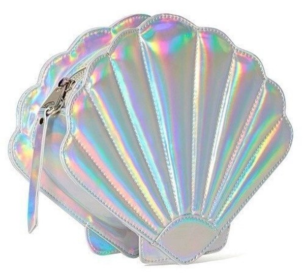bag holographic girly clam purse metallic tumblr
