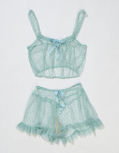 underwear,pajamas,lingerie,lace,blue,delicates,mint,two-piece,chiffon,chiffon bras,chiffon bottom,night,green,see through,sleepwear,pj pants,pj shorts,shorts,lingerie set