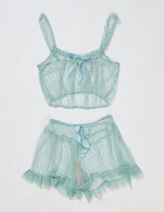 underwear pajamas lingerie lace blue delicates mint two-piece chiffon chiffon bras chiffon bottom night green see through sleepwear pj pants pj shorts shorts lingerie set