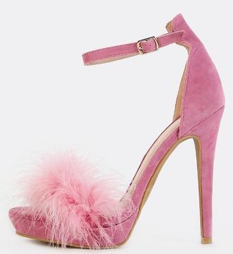 shoes girl girly girly wishlist heels high heels heel pink pink heels fur fur heels cute ankle strap heels furry heels