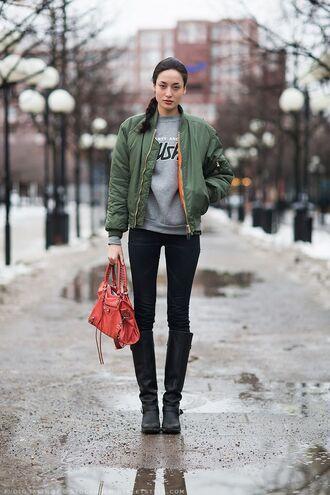 jacket bomber jacket military style outerwear green fashion streetstyle