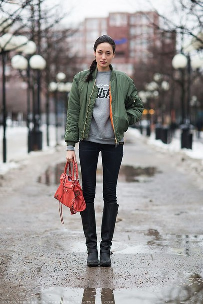 Jacket: bomber jacket, military style, outerwear, green, bomber ...