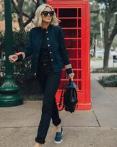 jacket,military style,jeans,sneakers,backpack,black blouse,sunglasses