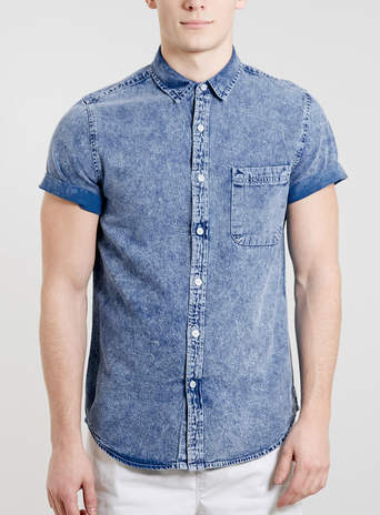 Blue Grunge Denim Shirt - New This Week  - New In  - TOPMAN