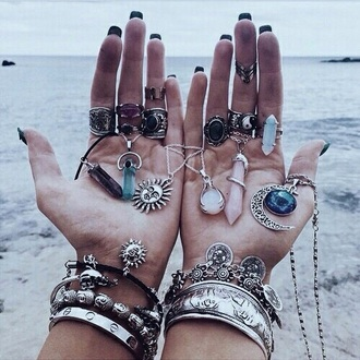 jewels necklace ring jewelry grunge moon necklace boho jewelry boho boho chic bohemian crystal quartz raw stone knuckle ring