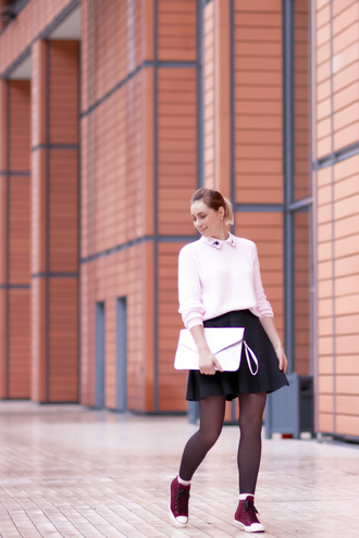 jeans baby pink blogger le blog d'artlex knitted sweater collar converse skater skirt