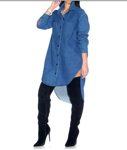 02f2067159 dress blouse denim shirt urban shoes shirt dress denim dress denim denim  shirt knee high boots