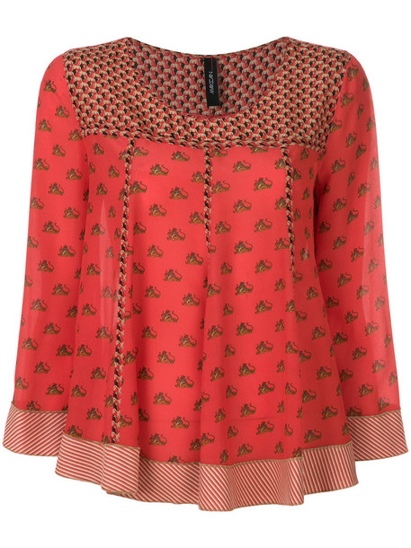 Marc Cain blouse printed blouse women cotton silk red top
