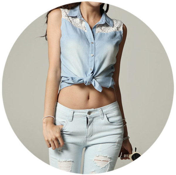 blouse vest vest top denim shirt