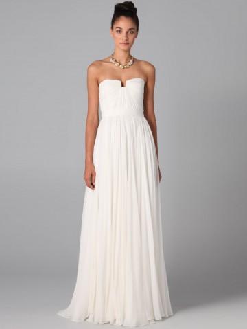 Length chiffon white prom dress / evening dress