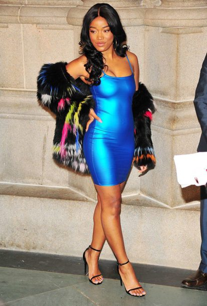 dress metallic mini dress blue blue dress keke palmer