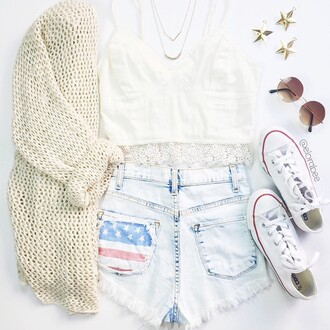 shorts denim shorts denim jeans american flag cardigan