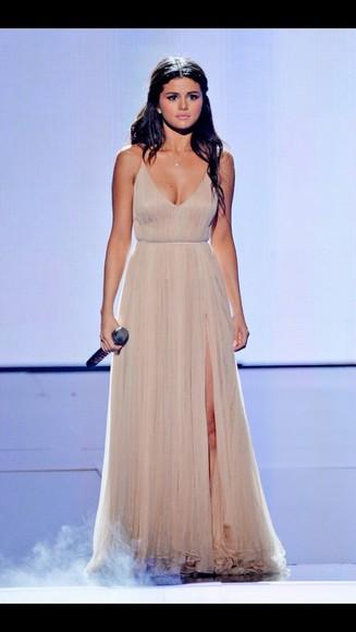 selena gomez dress nude dress slit dress American Music Awards