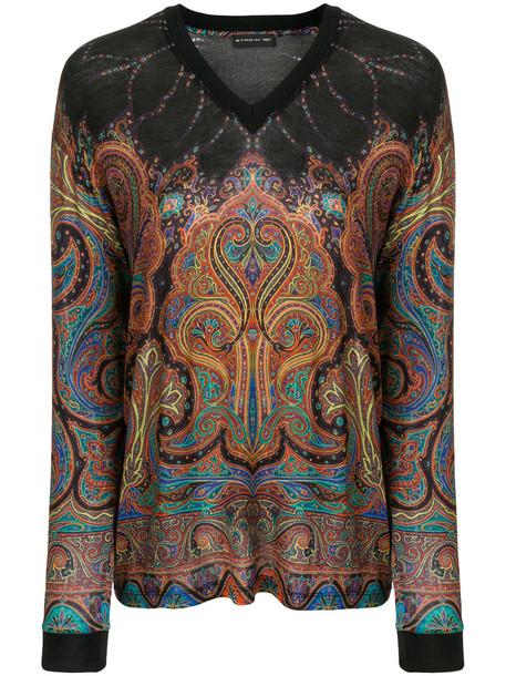 ETRO blouse women spandex black wool paisley top