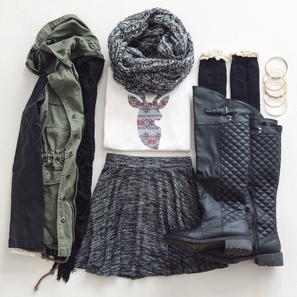blouse shoes jacket skirt scarf