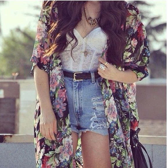 shirt floral kimono high waist shorts corset top top