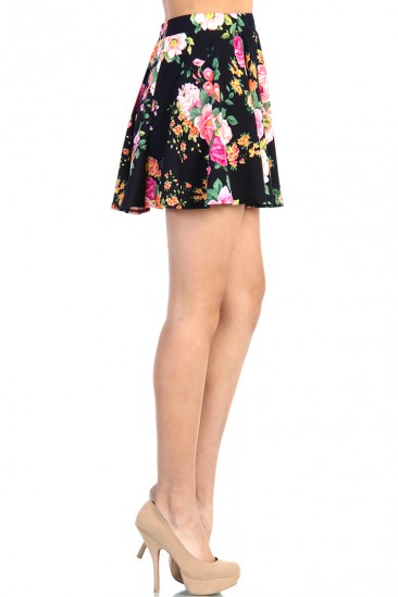 LoveMelrose.com From Harry & Molly | Floral Skater Skirt - Black