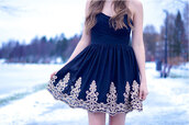 dress,black,white,navy,gold trim,tumblr,beautiful,ornament,gorgeous,dark blue dress,white details,gold details,strapless dress,a line dress,skirt,blue dress,strapless,pattern,girly dress,winter dress,classy dress,mini dress,hype,hippie,summer,blue,summer dress