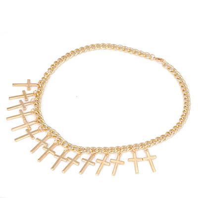 Gold Crosses Choker Link Chain Necklace | Celebrity Inspired Accessories - Reliableluxe.com