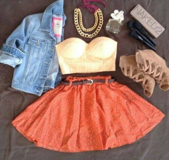 orange skirt skirt cute jeans jacket gold belt belt parfume naked beige shoes daisy