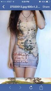 dress,the hobbit,adventure,map,map dress,map print,adventure time