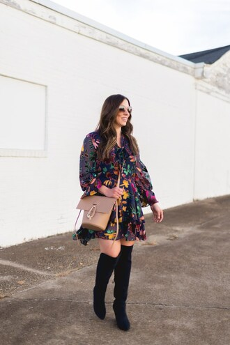 bohostylefile blogger dress shoes bag sunglasses fall outfits floral dress mini dress beige bag boots over the knee boots